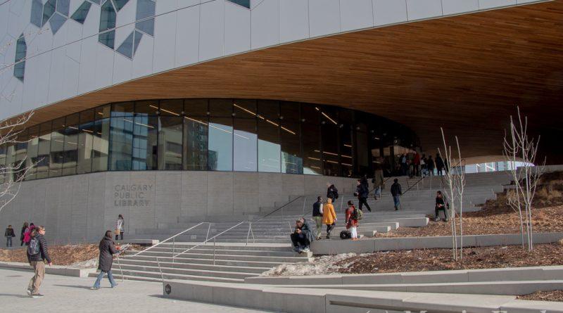 Frente del edificio de la bibliotec
